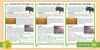 Running Faster Than Bulls Differentiated Fact File - reading comprehension, Spanish culture, Spanish traditions, bulls, Pamplona, Crete, Ancient Greece,