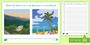 Beach or Mountain Opinion Writing Activity Sheet - w3.1, Final Draft, informational text, work on writing, writer's workshop, persuade, argument