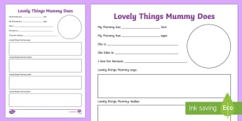 Lovely Things Mummy Does Writing Worksheet / Activity Sheet - NI  Literacy, Mum, Mummy, mother, Writing, Mother's day, love