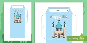 Eid Money Wallet Activity - Eid al-Fitr,KS1, 25th June, islam, muslim,, festival, ramadan, charity