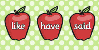 Phase 4 Tricky Words on Red Apples - phase 4, tricky words, apples