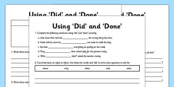 Using 'Did' and 'Done' Differentiated Worksheet Pack - pack