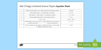 AQA (Trilogy) Combined Science Physics Formula Sheet - KS4 Assessment, Test, Physics, Formula Sheet, Equation Sheet