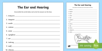 The Ear and Hearing Keywords Word Unscramble - Scramble, anagrams, reading, vocabulary, Science, body systems, senses,Scottish