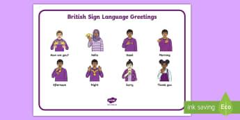British Sign Language (BSL) Greetings Word Mat - deaf community, deaf awareness, deaf aware, deaf club, hearing impaired, teacher of the deaf, commun
