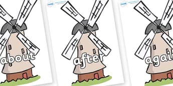 KS1 Keywords on Windmills - KS1, CLL, Communication language and literacy, Display, Key words, high frequency words, foundation stage literacy, DfES Letters and Sounds, Letters and Sounds, spelling