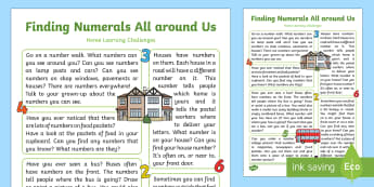 EYFS Maths: Shows an Interest in Numerals in the Environment. Home Learning Challenges - Mathematics, number, numerals, EYFS, Home Learning, Homework, Home School Links, Parents, environmen