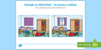 Spot the Differences in the Bedroom Activity Sheet Gaeilge - Spot the Differences, Sa Bhaile, Seomra Codlata, Gaeilge,Irish