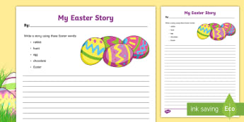 My Easter Story Writing Activity Sheet - Canada Easter, easter, story, writing, rabbit, hunt, egg, chocolate