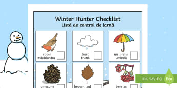 Winter Hunt Checklist English/Romanian - winter, observing the nature, list, writing, science, seasons, EAL