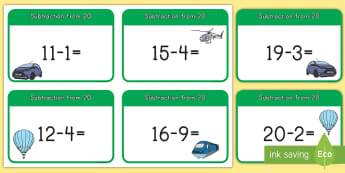 Subtraction From 20 Cards - subtraction, cards, 20, math, problem-solving, math station, math center, number