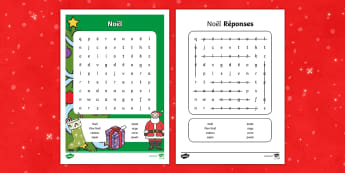 Noël Mots mêlés - Noël, Christmas, word search, mots mêlés, soupe de mots, lecture, reading,French