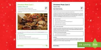 Christmas 2 Foundation Tier Photo Card Activity Spanish - Speaking, Describing, Customs, Festivals, Celebrations