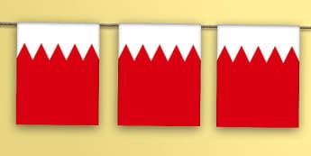 Bahrain Flag Bunting - bahrain flag, bahrain, flag, bunting, display bunting, display