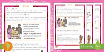Comprensión lectora de atención a la diversidad: Diwali - Diwali, Hindú, Hinduismo, festival,festival de la luz, rama, sita, ravana, comprensión lectora, le