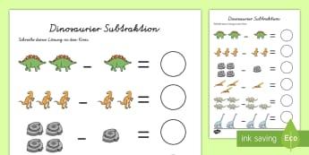 Dinosaurier Subtraktion Arbeitsblatt - Subtrahieren, minus rechnen, minus, -, Dino, Arbeitsblatt, rechnen, Mathematik,German