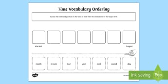 Time Vocabulary Ordering Activity Sheet - Measurement, time, vocabulary, ordering, worksheet, comparing, years, months, weeks, days, hours, mi