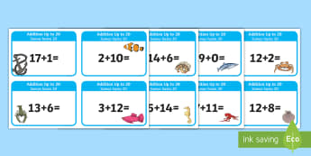 Addition up to 20 Cards English/Spanish - EAL, Addition up to 20 Cards - addition, cards, 20, up to 20, add, +, adition, additon, Spanish-tran