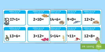 Addition up to 20 Cards English/Spanish - EAL, Addition up to 20 Cards - addition, cards, 20, up to 20, add, +, adition, additon, Spanish-tran