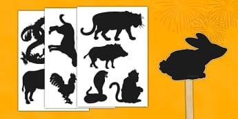 Marionnettes à découper : Les ombres des animaux du zodiaque chinois - chine, théâtre, animal, spectacle vivant, astrologie, nouvel an, cycle 1