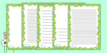 Spring Leaf Page Borders - writing templates, writing border