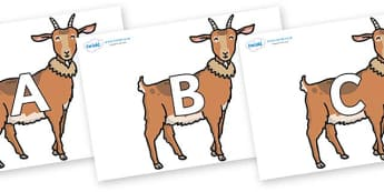 A-Z Alphabet on Medium Billy Goats - A-Z, A4, display, Alphabet frieze, Display letters, Letter posters, A-Z letters, Alphabet flashcards
