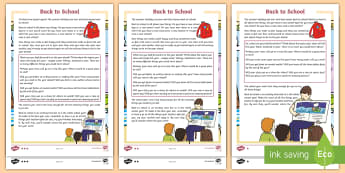 Back to School LKS2 Differentiated Reading Comprehension Activity-Scottish - new class, transition, starting school, new term, change, resilience