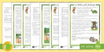 Comprensión lectora de atención a la diversidad: La liebre y la tortuga - cuento, infantil, moraleja, liebre, tortuga, fábula, fabula, animales, valores,Spanish