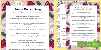 Auntie Monica Song - clothing, wearing, dressed, singing, song time