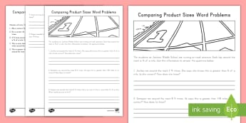 Comparing Product Sizes Word Problems Activity Sheet - problem solving, word problems, comparisons, fractions, multiplication, mixed numbers, factors, prod
