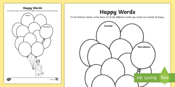 Happy Words Activity Sheet - young people, emotions, behaviour, feelings, families, worksheet