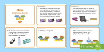 Year 2 Mass Challenge Cards - Mathematics, Measurement and Geometry, Using units of measurement, ACMMG038, mass, problem solving,