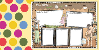 Story Review Writing Frame to Support Teaching on The BFG - bfg, story, review, writing