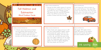 Fall Addition and Subtraction Word Problem Cards - Fall, Autumn, Seasons, Word Problems, September, October, November