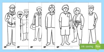 People Who Help Us Colouring Sheets - People Who Help Us, colouring, fine motor skills, poster, worksheet, Doctor, Nurse, Teacher, Police, Fire fighter, Paramedic, Builder, Caretaker, Lollipop, Traffic Warden, Lunchtime supervisor, vet, postman