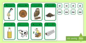 Phase 3 Digraphs ow and oi Peg Matching Game - Letters And Sounds, Phonics, Assessment, Phonics Screen, Fine Motor