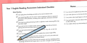 2014 Curriculum Year 1 English Reading Assessment Individual List