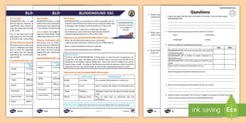 UKS2 BLOODHOUND SSC Differentiated Reading Comprehension Activity - STEM, world land speed record, supersonic car, y5 and y6, british land speed record