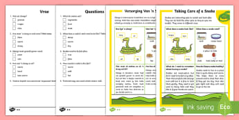 How to Look After a Snake Differentiated Reading Comprehension Activity English/Afrikaans - slither, reptile, cold blooded, nature, habitat, reptiel, koudbloedig, EAL