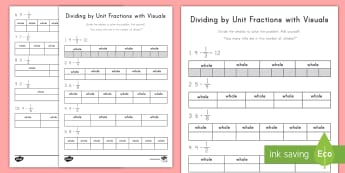 Dividing by Unit Fractions with Visuals Activity Sheet - visual, division, unit fraction, fractions, whole numbers, worksheet