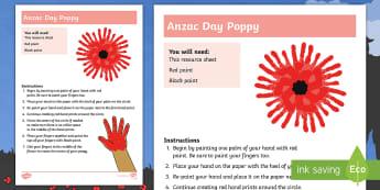 Anzac Day Hand Print Poppy Art Activity - Australia, anzac day, anzac, poppy, handprints, hand print, handprint, anzac poppy