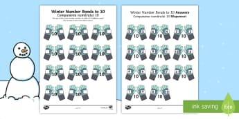 Winter-Themed Number Bonds to 10 Activity Sheet English/Romanian - Winter, snow, Christmas, mittens, gloves, worksheet, number bonds to 10, addition, number facts, act