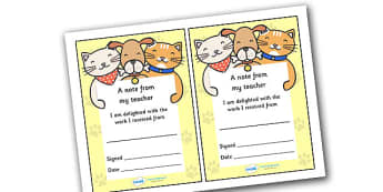 Note From Teacher Delighted With Work (Cat Dog Themed) - note from teacher delighted with work, delighted with work, note from teacher, notes, praise, comment, note, teacher, teacher's, parents, delighted, work, cat dog themed, cat, dog, themed