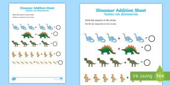 * NEW * Dinosaur Addition Activity Sheet - English / Spanish  - Dinosaur Addition Sheet - dinosaur themed, addition sheet, addition, addition worksheet, dinosaur th