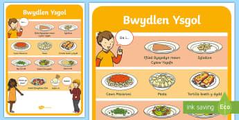 Dinner Menu Display Poster Welsh - shwmae day,shwmae, dinner, welsh, ga i, ordering food,Welsh