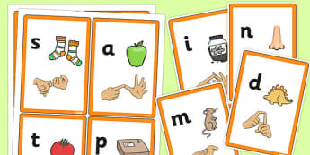 Phase 2 Sound Flash Cards with British Sign Language - phase 2