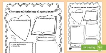 Fine della Scuola Scrivi le Memorie Attività - memorie, ricordi, scrivere, scrittura, fine, della, scuola, italian, italiano