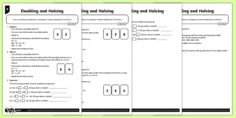 Halving and Doubling Activity Sheets