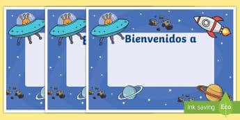 Cartel: Bienvenidos - Espacio - espacio, cartel, bienvenida, bienvenido, bienvenidos, carteles, decorar, decoración, exponer, expos