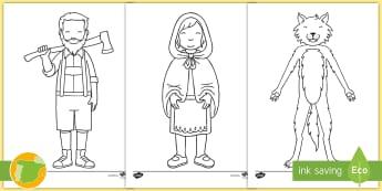Hojas de colorear: Caperucita Roja - Cuentos, tradicionales, roja, caperucita, niña, lobo